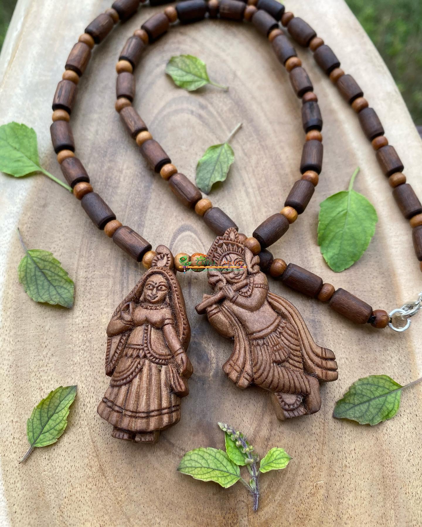 Radha Krishna Pendant- Tulsi Necklace