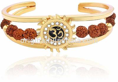 Gold Om Sun Cuff Rudraksha Kada