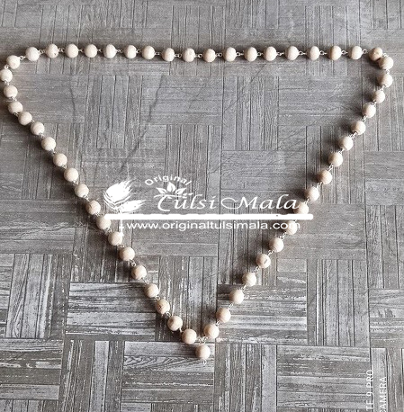 54 Beads Silver Tulsi Mala for Neck and Jap