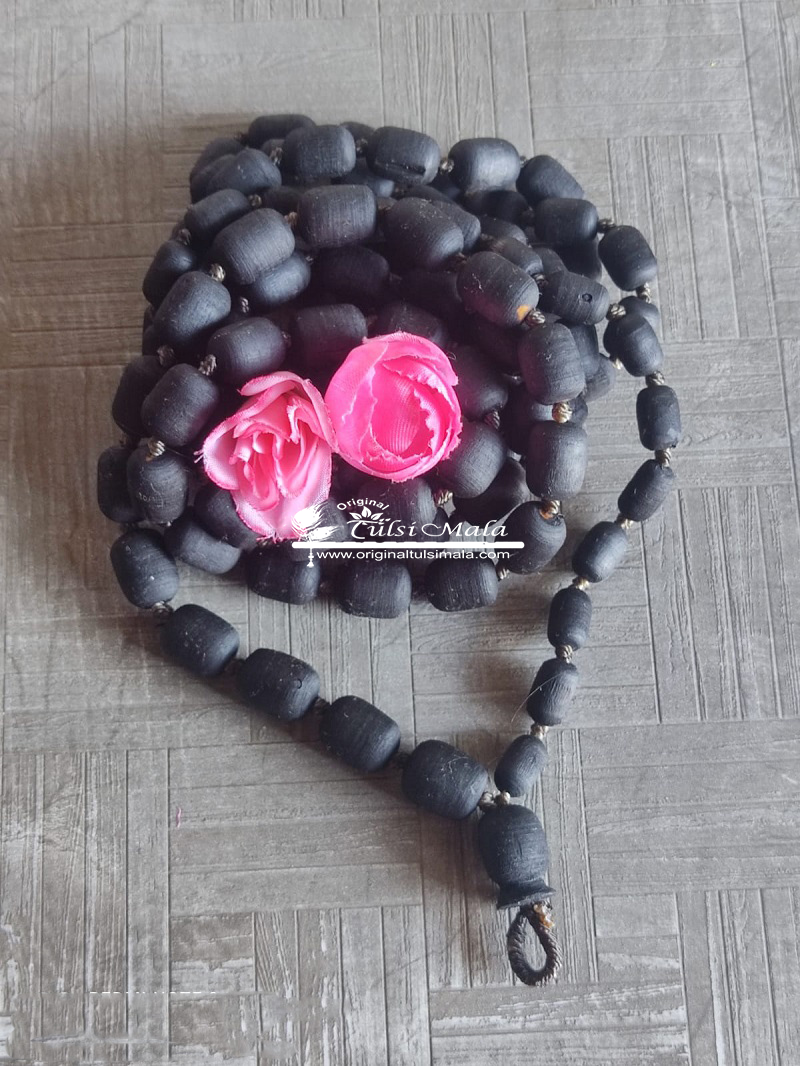 Shyama Tulsi Japa Mala 108 Beads Cylendrial Shaped - 14 mm  - Premium Quality
