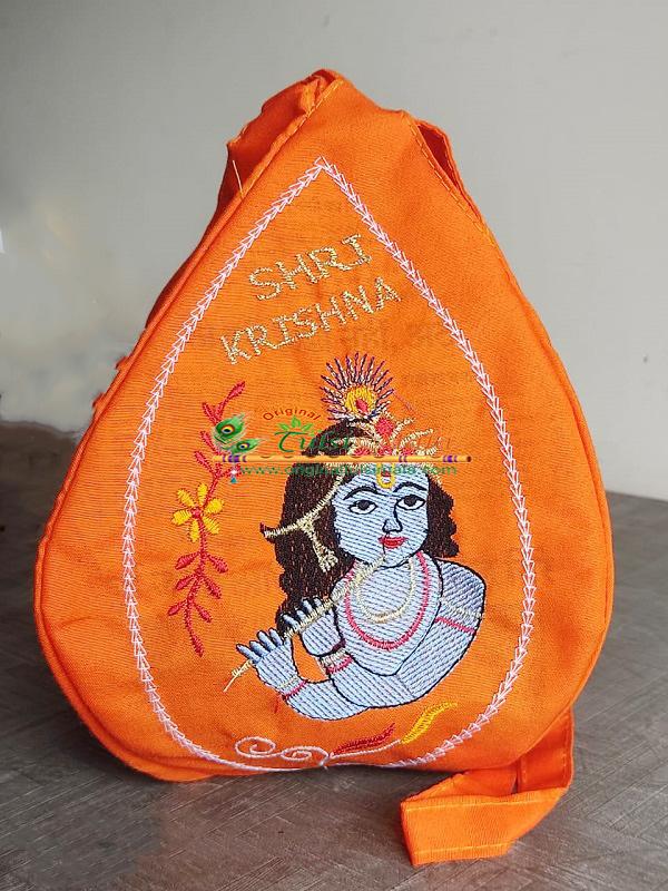 Beautiful Krishna Embroidery Japa Bead Bag
