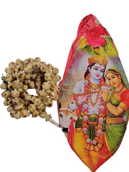 108 Beads Japa Mala With Radha Krishna Japa Mala Bag
