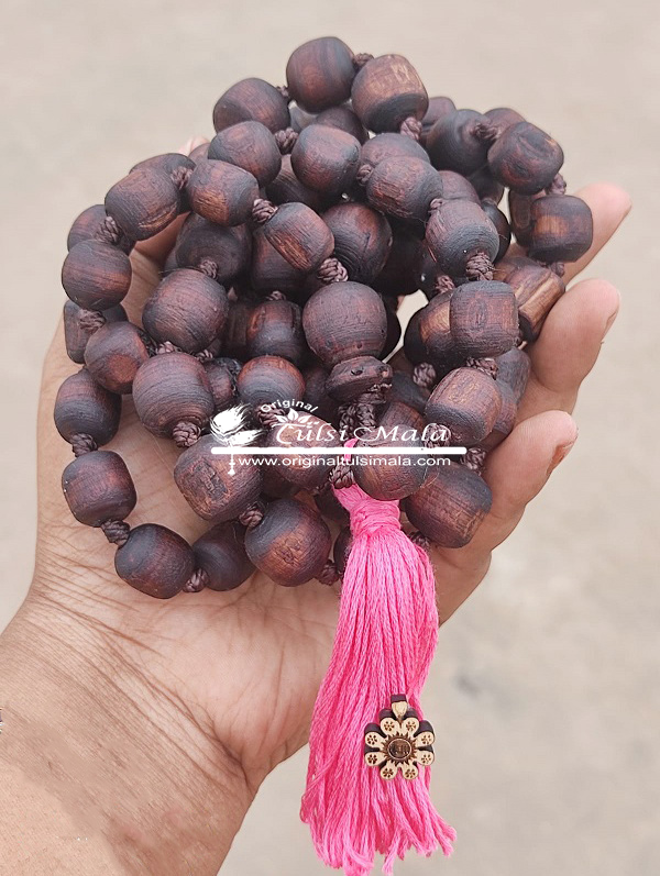 Tulsi Jap Mala 108 Beads With a Guru Bead and Pink Tassel - 20 mm Beads Size
