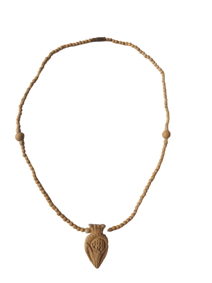 Natural Pure Tulsi Necklace with Iskon Radha Name Carved Pendant