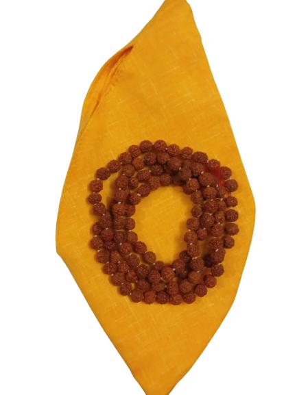 108 Beads Rudraksha Japa Mala With Radha Krishna Japa Bag