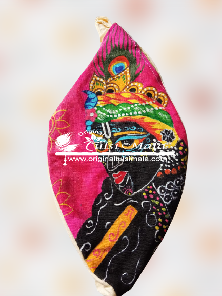 Hand-Painted Shri Krishna Japa Bead Bag