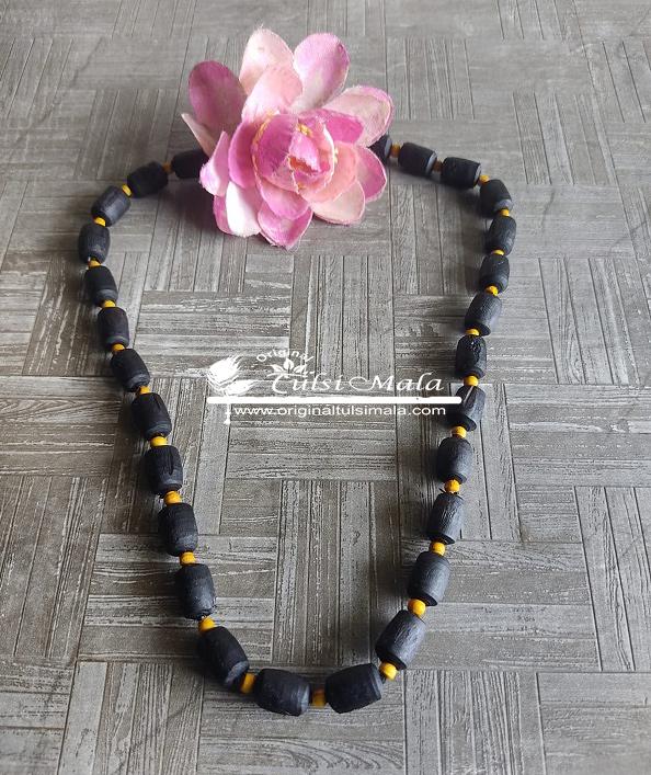 Black And Yellow Tulsi Beads One Round Kanthi Mala