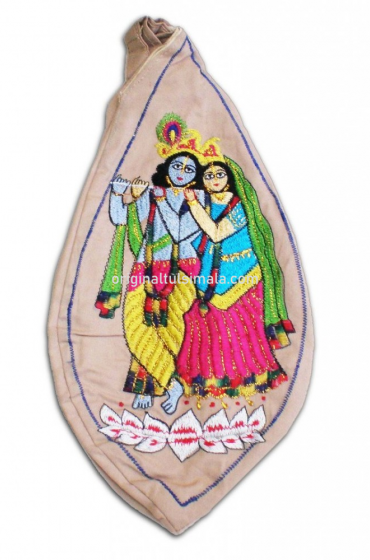 Radha And Krishna Standing On Lotus Japa Bead Bag