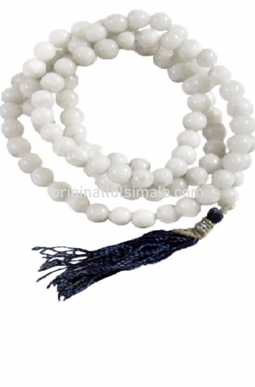 Buddhist Prayer Mala with White Hakik Stone Beads