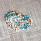 silver and natural tulasi basil rosary beads chain -7.5 gm , 24 inch