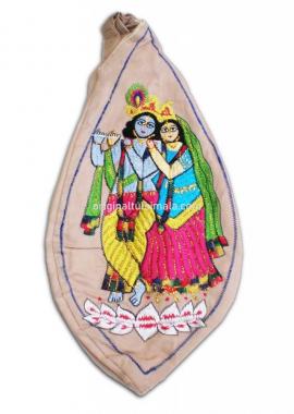 Radha And Krishna Standing On Lotus Japa Bead Bag