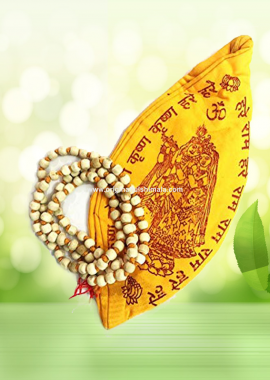 Tulsi Mala 108 Beads with Cotton Gaumukhi Japa Bag