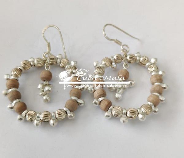 Silver Tulsi Beads Kundal
